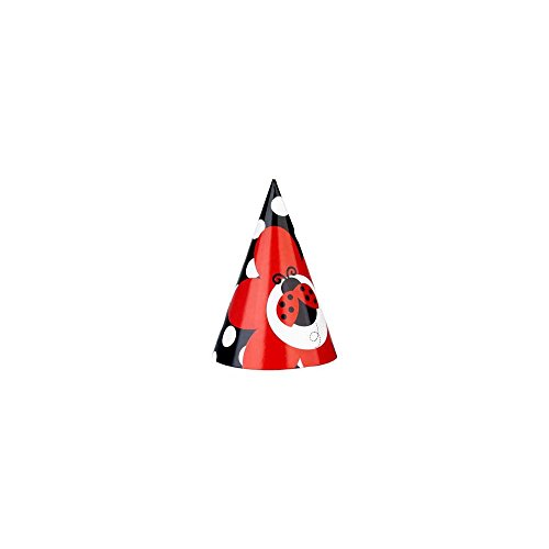 Creative Converting Unisex Adult LadyBug Fancy Cone Hats Red Medium - 1