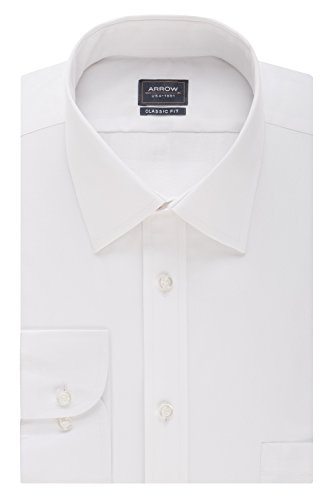 Arrow Men's Poplin Regular-Fit Solid Spread Collar Dress Shirt