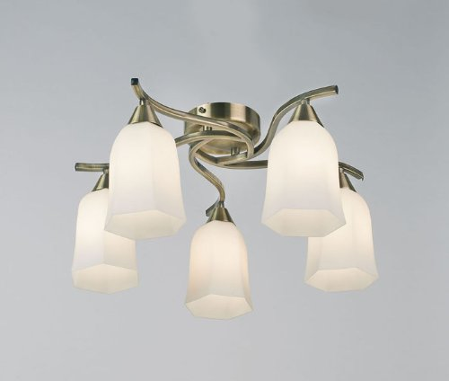 Alonso Five Light Semi Flush Mount in Antique Brass