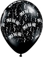 OVER The Hill BLACK Print 30 40 50 60 70 80 (6) Happy Birthday Latex Balloons