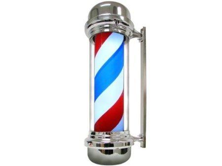 "28"" Barber Pole Light Red White Blue Stripes Rotating Metal Hair Salon Shop Sign front-130554"