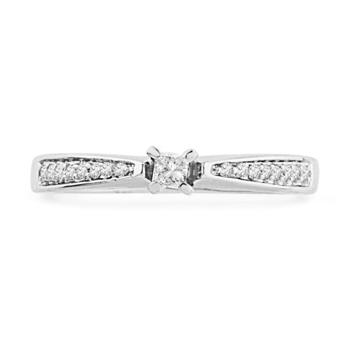 10KT White Gold Princess and Round Diamond Promise Ring (1/5 cttw)