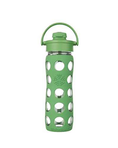 Lifefactory 16-Ounce BPA-Free Glass Water Bottle with Flip Cap & Silicone Sleeve, Grass Green (Lifefactory Water Bottle Flip Top compare prices)