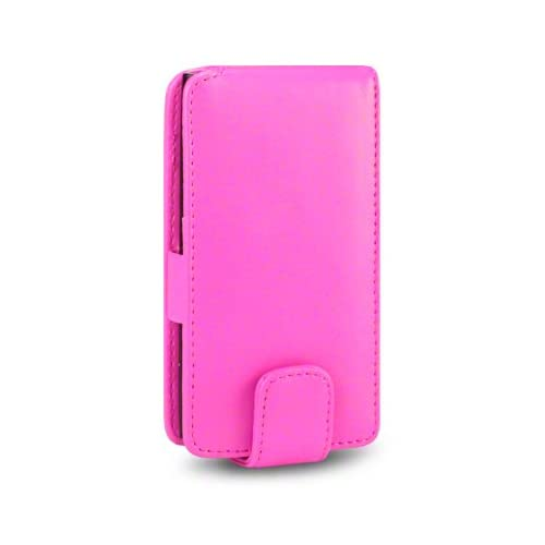 NOKIA LUMIA 800 / N9 PU LEATHER FLIP CASE   HOT PINK, WITH QUBITS BRANDED MICROFIBER CLEANING CLOTH