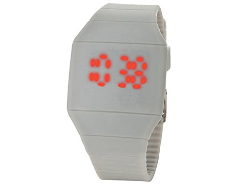 Moonar®Unisex Ultra Thin Cool Red Led Touch Screen Digital Display Rubber Wrist Watch(Gray)