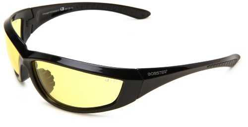 Bobster Charger Echa001Y Square Sunglasses,Black Frame/Yellow Lens,One Size