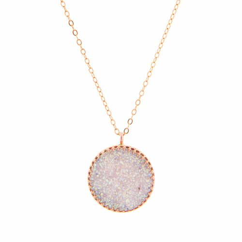 Yaron Morhaim 14ct rolled gold necklace set with a Druzy gem, 16 inch chain