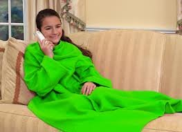 Snuggie® Neon Green Blanket With Sleeves For Kids front-4829