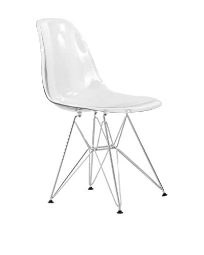 LeisureMod Cresco Molded Eiffel Side Chair, Clear