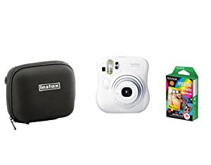 Fujifilm Instax Mini 25 White Camera + Mini Rainbow Colored Border 10 images + case
