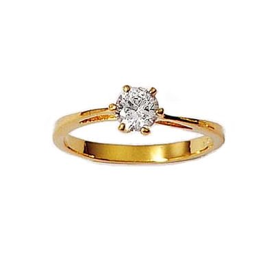 Ladies 18K Gold Plated Solitaire Clear Cubic Zirconia Engagement Ring