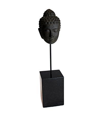 Asian Loft Vintage Buddha Head Sculpture on Stand, Grey