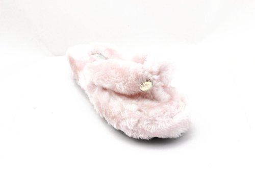 Michael Kors Women'S Jet Set Thong Faux Fur Slippers In Pink Size 5