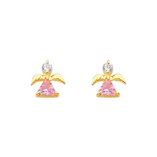 14K Yellow Gold Angel Pink CZ Stud Earrings with Screw-Back for Baby & Children