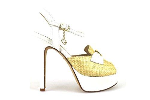 scarpe donna BRACCIALINI sandali bianco beige pelle tessuto AH381 (37 EU)