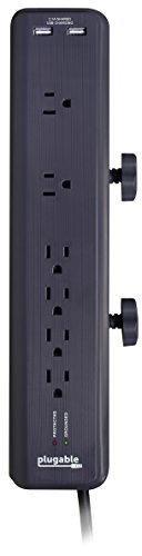 Plugable 6 Outlet Power Surge Protector Clamping Desk Mountable with Built-In 10.5W 2-Port USB Charger for Android, Apple iOS, and Windows Devices – Universal Support for Apple iPhone (5s, 5c, 5, 4s, 4), iPad (Air, Mini, Retina), iPod, Samsung Galaxy S Tab Note, Google Nexus, Motorola Droid, HTC, Nokia, and More.