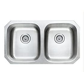 "WATER CREATION 32"" x 18"" STAINLESS STEEL UNDER MOUNT 50/50 DOUBLE BOWL KITCHEN SINK"