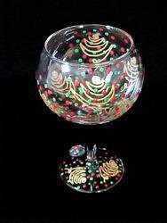 Christmas Trees Design - Hand Painted - Grande Goblet - 17.5 oz.