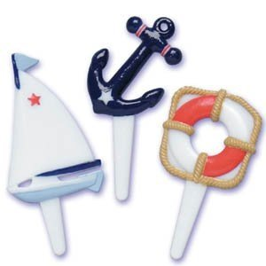 Nautical Sailboat Cupcake Picks - Set of 24