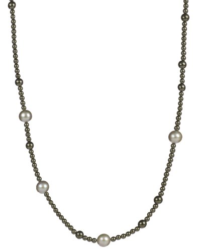 Round Hematite Beads with Silver Grey Freshwater Cultured Pearl Necklace, 48