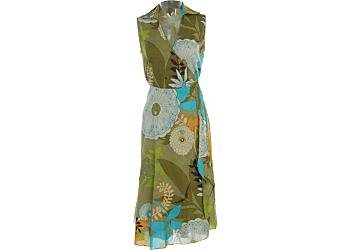 Buy Misses Vasna Desire Sleeveless Green Multi Wrap Dress
