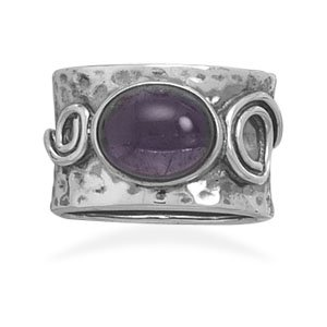 Sterling Silver Amethyst with Coil Design Ring / Size 8