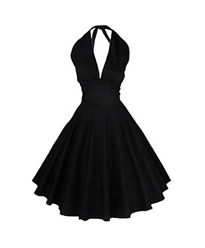Tecrio Classy Marilyn Monroe 50s 60s Style Halter Tie Neck Party Swing Dress XL Black (1960 Ties compare prices)