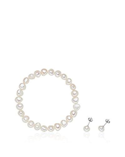 Nova Pearls Copenhagen Conjunto de pulsera y pendientes  Blanco