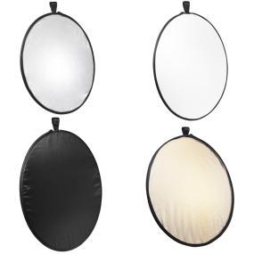 drei Reflexflächen zum Aufhellen: weiß-neutral, silber-kalt, gold-warm schwarze zum Abschatten