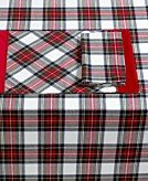 Christmas Tablescape Decor - Stewart Tartan Plaid Christmas Holiday Placemats Image Set of 4 by Waterford