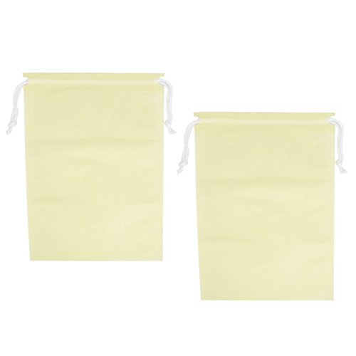 Household Clothes Shoe Dust Cover Storage Drawstring Bags Beige 2pcs