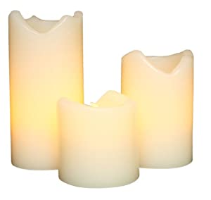 "Everlasting Glow LED Ivory Wax Candles With Drip Effect, Set of 3, 2"" x 2, 3, 4"" Height"