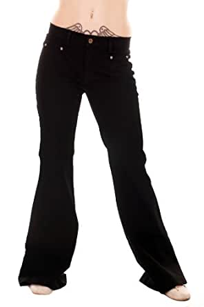 WOMENS LADIES 70s DISCO RETRO HIPPY NEW VINTAGE FITTED WIDE BLACK BELLBOTTOM FLARES (20R)