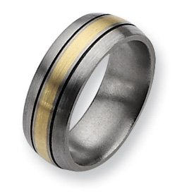 Titanium 14k Gold Inlay 8mm and Antiqued Band TB109-10.5