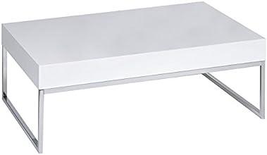 Alfa-Tische KG M2164 Castello Table basse laquée avec surface épaisse Blanc haute brillance 110 x 70 cm