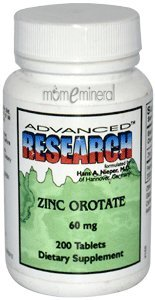 Advanced Research, Zinc Orotate, 60 mg, 200 Tablets by Nutrient Carriers Incorporated