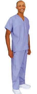 Cherokee Uniforms Authentic Workwear Unisex Scrub Set (Blue Mist, 2X)