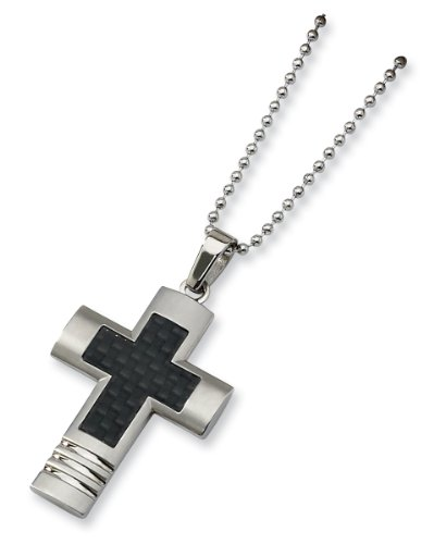 Stainless Steel Carbon Fiber Cross Necklace - 22 Inch - JewelryWeb
