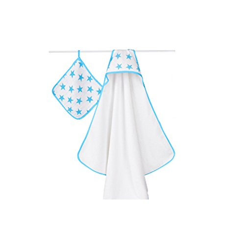 aden + anais Classic Hooded Towel + Washcloth Set, Fluro Blue