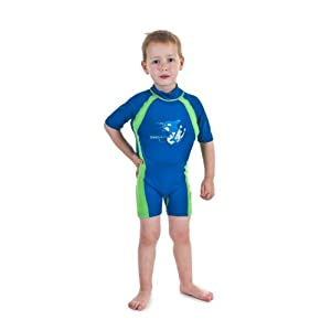 Kids Blue/Green Floating Swimsuit Sun Protection Swim Suit SPF+50 Flotation Suit Size Large for Kids Age 5.5-7.5 Years Old