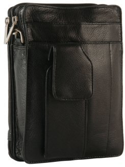 Global Traveller Leather Travel Organiser Bag 6512_11 Black