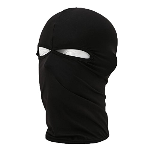Rioriva Black Hat Scarf Balaclava Hood Cap Full Face Mask Neck Cover Winter Sports Warmer (Twohole-black) (Leopard Hunter Liners compare prices)