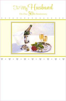 Husband 50th Wedding Anniversary (Golden) Greeting Card