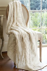 Cable Knit Throw - White front-902631