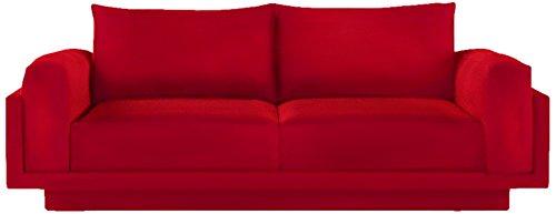 FEYDOM FEY810011 2-3 Sitzer-Sofa Cloud-B mit Schlaffunktion, Veloursstoff, rot