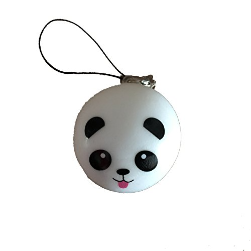 panda bear with tongue bun squishy cellphone charm kawaii - 1