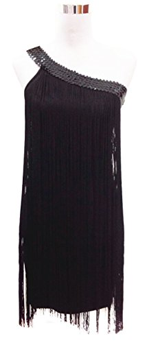 JustinCostume One Shoulder Seqiuns Swing Ombre Draping Tassel Dance Dress 1920s