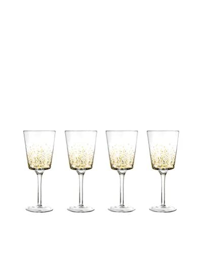 Jay Imports Set of 4 Daphne Gold Luster Wine Glasses, Clear/Gold