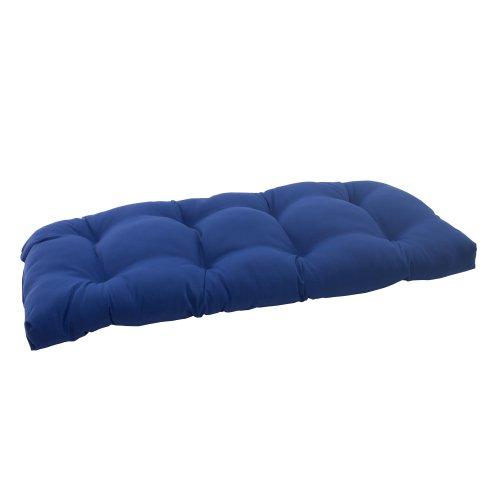 Pillow Perfect Indoor/Outdoor Fresco Wicker Loveseat Cushion, Navy photo