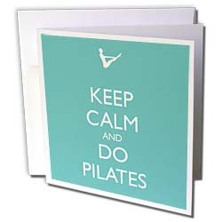 EvaDane - Funny Quotes - Keep calm and do pilates. Yoga. Workout. Pilates instructor. - Greeting Cards-12 Greeting Cards with envelopes from 3dRose LLC